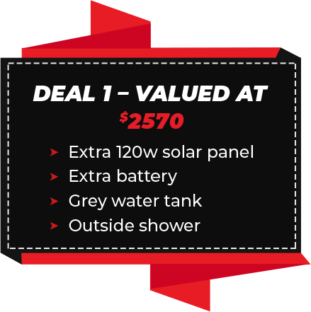 Deal 1 - Valued At $2570 (Extra 120w solar panel, Extra battery, Grey water tank, Outside shower)