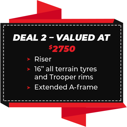 "Deal 2 - Valued at $2750 (Riser, 16"" all terrain tyres and trooper rims, Extended A-Frame)"